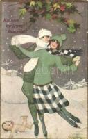 Kellemes karácsonyi ünnepeket / Christmas greeting postcard, Italian art postcard, ice skating couple, Ballerini & Fratini No. 185. s: Sofia Chiostri (EB)