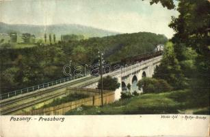 Pozsony, Pressburg, Bratislava; Vörös vasúti híd, gőzmozdony / Rothe-Brücke / railway bridge, locomotive (Rb)