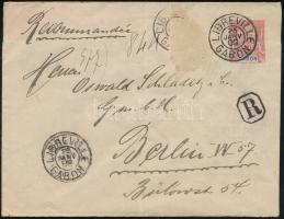 1909 Ajánlott díjjegyes levél Berlinbe küldve (1 bélyeg hiányzik)