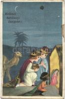 Kellemes karácsonyi ünnepeket / Christmas greeting postcard, Italian art postcard, children, three kings, Ballerini & Fratini No. 188. s: Sofia Chiostri (EK)