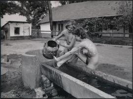 cca 1978 Természet közelben, 4 db szolidan erotikus akt fotó, korabeli vintage negatívokról készült mai nagyítások 25x18 cm-es fotópapírra / 4 erotic photos, 25x18 cm