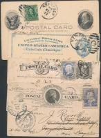 USA 1900-1940 7 db díjjegyes levelezőlap díjkiegészítéssel + 10 db levél, közte díjjegyes is, vegyes minőségben
