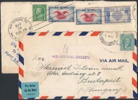 1937-1938 2 db légi levél Magyarországra küldve