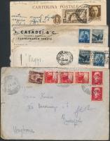 Olaszország kis levél tétel, benne 6 db levél, 2 db képeslap, 1 db díjjegyes levelezőlap díjkiegészítéssel vegyes minőségben