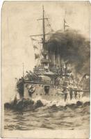 SMS Erzherzog Friedrich, a K. u. K. haditengerészet csatahajója / Austro-Hungarian Navy pre-dreadnought battleship, F. W. Schrinner s: Ramberg (vágott / cut)