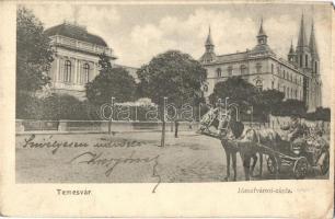 Temesvár, Timisoara; Józsefvárosi zárda, lovaskocsi, Koronaherceg tőzsde kiadása / nunnery, horse cart (EM)