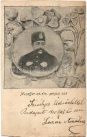 Musaffer-ed-din, perzsa sah / Mozaffar ad-Din Shah Qajar, Shah of Persia, floral (vágott / cut)