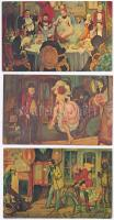 3 db MODERN finoman erotikus nem képeslap hátoldalú lap, Las Vegas Lucky Casino falfestményei / 3 MODERN gently erotic postcards, paintings in the Lucky Casino, Las Vegas (non PC)