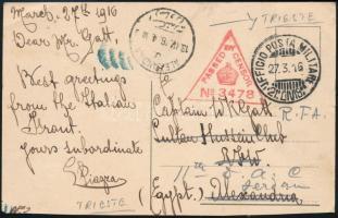 Trieszt 1927 Cenzúrás képeslap Egyiptomba küldve