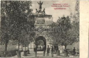 Gyulafehérvár, Alba Iulia; Károly-kapu a várban, Weisz Bernát kiadása / castle gate (EK)