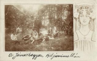 1911 Budapest XII. Jánoshegy, kirándulók csoportképe, Art Nouveau floral hölggyel díszített, photo (EK)