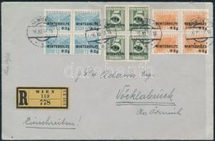 1933 Ajánlott levél Winterhilfe 3 db 4-es tömb Mi 563-565 bérmentesítéssel