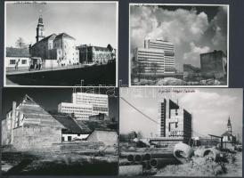 cca 1970 Vincze János (1922-1998) kecskeméti fotóművész 24 db feliratozott vintage fotója a változó, fejlődő Kecskemétről, 8x11,5 cm