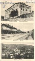 Körmöcbánya, Kremnica; Vasútállomás, siketnémák intézete, látkép / railway station, Deaf-mute Institute, general view (vágott / cut)