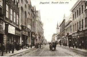 Nagyvárad, Oradea; Kossuth Lajos utca, rézbútor raktár, Boros Jenő, Adler üzletei, takarékpénztár, K. J. Bp. / furniture warehouse, shops, savings bank (kis szakadás / small tear)