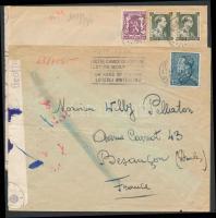 1930-1941 2 db cenzúrás levél Franciaországba küldve