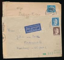 1941-1942 2 db cenzúrás levél, az egyik légi Budapestre küldve