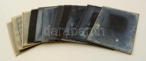 cca 1930 Merényi Andor (?-1940) banktisztviselő 13 db vintage üveglemez negatívja változatos témákról, 9x12 cm