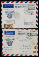 1946 2 db első repülés Prága-New York ajánlott légi levél