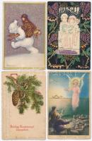 40 db RÉGI karácsonyi motívumos képeslap, néhány modern lappal, vegyes minőségben / 40 pre-1945 Christmas greeting postcards, with some modern postcards, mixed quality