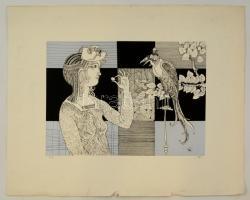 Szász Endre (1926-2003): Női portré. Szitanyomat (100/8), papír, jelzett, kis szakadással, 29×41 cm