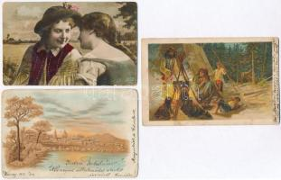 90 db RÉGI főként motívumos és üdvözlő képeslap, több litho lappal, vegyes minőségben / 90 pre-1945 mostly motive and greeting postcards, some lithos, mixed quality