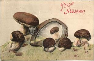 Prosit Neujahr! / New Years greeting card, mushrooms (EK)