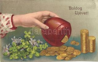 Boldog Új Évet! / New Years greeting card, money box, flowers, clover, Emb. litho (EK)
