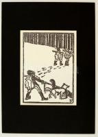 Kós Károly (1883-1977): Illusztráció I. Linómetszet, papír, jelzett a metszeten, paszpartuban, 16×11 cm