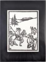 Kós Károly (1883-1977): Illusztráció II. Linómetszet, papír, jelzett a metszeten, paszpartuban, 16×11 cm