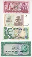 Vegyes: Mozambik 1976. (1961.) 100E BANCO DE MOCAMBIQUE felülbélyegzéssel + 1989. 1000M + Botswana 2002. 10P + Zimbabwe 2007. 5$ T:I Mixed: Mozambique 1976. (1961.) 100 Escudos with BANCO DE MOCAMBIQUE overprint + 1989. 100 Meticais + Botswana 2002. 10 Pula + Zimbabwe 2007. 5 Dollars C:UNC