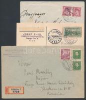 Csehszlovákia 13 db levél, közte légi, ajánlott és a alkalmi bélyegzéses