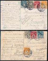 1912 2 db képeslap 4 színű bérmentesítéssel Budapestre küldve