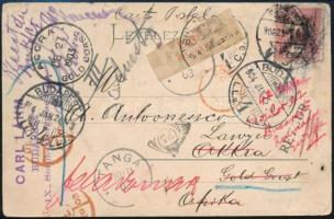 1904 Ajánlott képeslap Turul 10f bérmentesítéssel Afrikába címezve, visszaküldve Budapestre