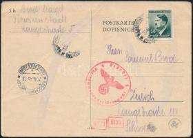 1943 Cenzúrás levelezőlap Svájcba küldve