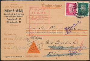 1930 Üzleti levelezőlap Stuttgartba címezve, visszatért