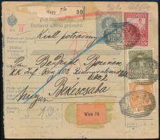 1916 Csomagszállító 96 heller bérmentesítéssel + Turul 15f kiegészítéssel Békéscsabára küldve