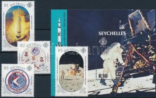1989 Első Holdraszállás sor Mi 694-697 + blokk Mi 32