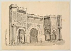 Olvashatatlan jelzéssel: Bab Mansour. Ceruza, papír, apró folttal, 29×40 cm