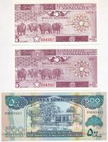 Vegyes: Szomália 1983-1987. 5Sch (2xklf) + Szomáliföld 2005. 500Sch T:I Mixed: Somalia 1983-1987. 5 Schillings (2xdiff) + Somaliland 2005. 500 Schillings C:UNC