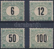 1905 Feketeszámú zöld portó 6f, 12f, 50f, 100f 11 3/4 : 12 fogazással (16.000)