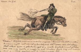 Báró Nyáry Albert az 1848-as magyar szabadságharc alakját, a Márciusi Ifjak egyikét harc közben ábrázoló, saját kézzel rajzolt művészi képeslap, 5f Ga. / One figure of the Hungarian revolution, hand drawn art postcard s: Karl Pál (EK)
