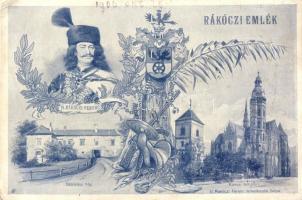 Rákóczi emlék II. Rákóczi Ferenc szülőháza, temetkezési helye Kassán, címer, hátoldalán sorsjegy reklám / birthplace and burial place of Francis II Rákóczi, lottery advertisement on backside (EK)