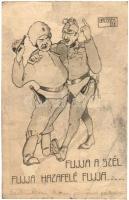 Fujja a szél, fujja hazafelé, fujja... békekarikatúra / Friedenskarikaturen / WWI Russian-Hungarian military peace caricatures, alcohol, ARS Nr. 111. s: Brossek (EB)