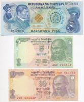 Vegyes: Fülöp-szigetek 1981. 2P + India 2002. 5R + 1996. 10R T:I Mixed: Philippines 1981. 2 Piso + India 2002. 5 Rupees + 1996. 10 Rupees C:UNC
