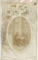 1911 Kolozsvár, Cluj; kártyázó urak / card game, floral decorated photo (fl)