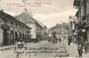 Zimony, Zemun, Semlin; Fő utca, Herrman Weisz üzlete / main street, shop