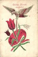 Boldog Húsvéti Ünnepeket! hazafias propaganda-üdvözlőlap / Easter greeting, Hungarian patriotic propaganda postcard, tulipan, folklore (fa)