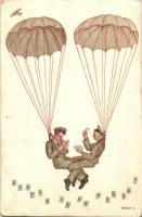 Kártya szenvedély - katonai humor, ejtőernyő, Gárdonyi és Fenyvesi kiadása / Card passion - military humour, parachute s: Stélik L. (EB)