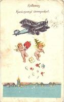 Kellemes Karácsonyi Ünnepeket! / Christmas greeting card, airplane dropping toys and angels (EB)